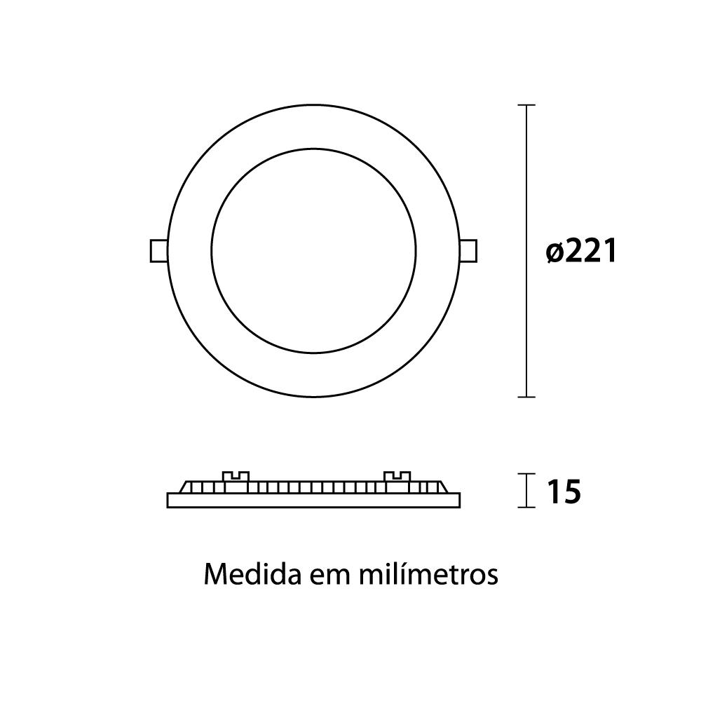 Painel Led Redondo Embutir 22 x 22cm 18w Fria 6500k Blumenau