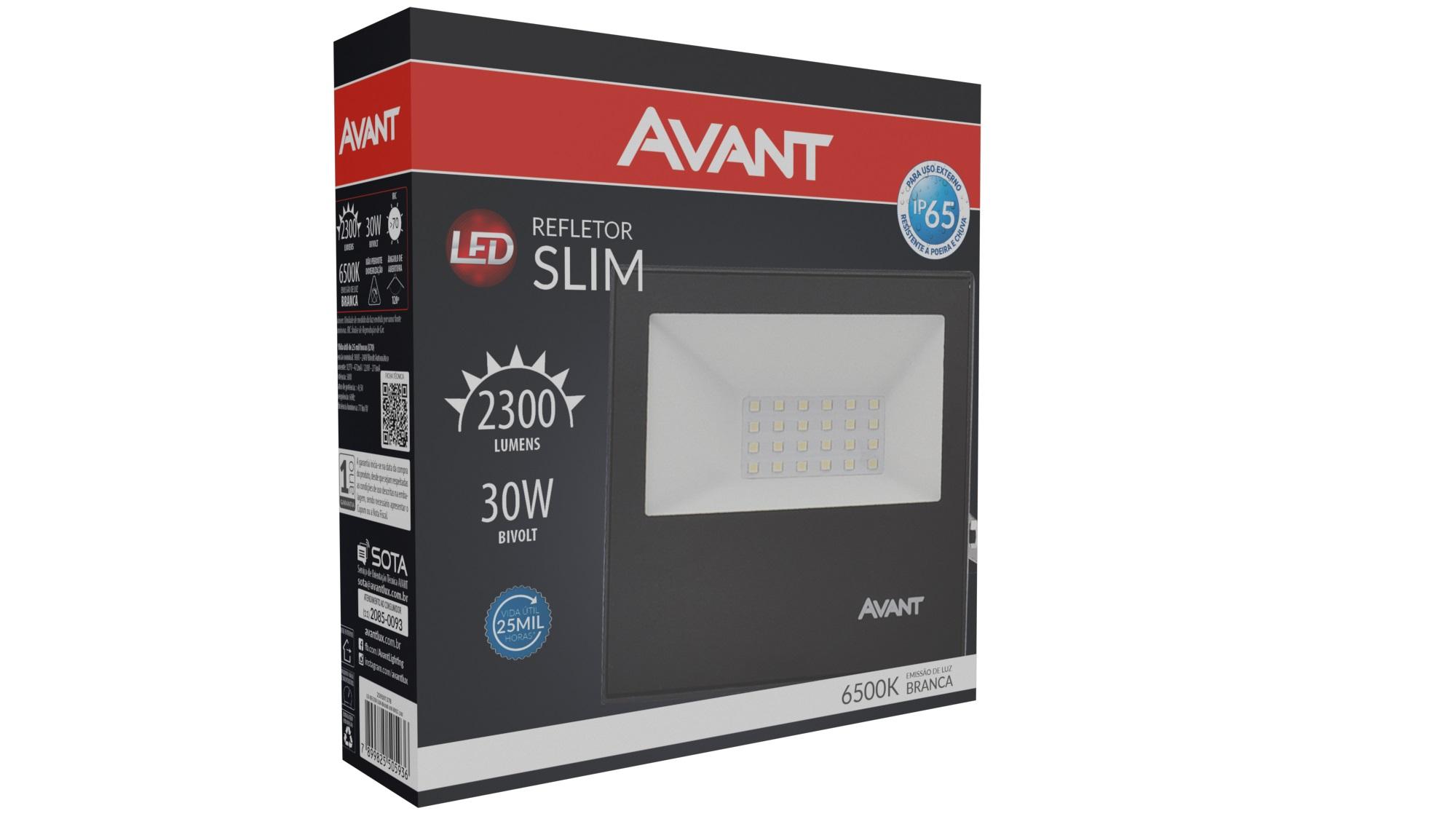 Refletor de Led 30w Preto Luz Fria Avant