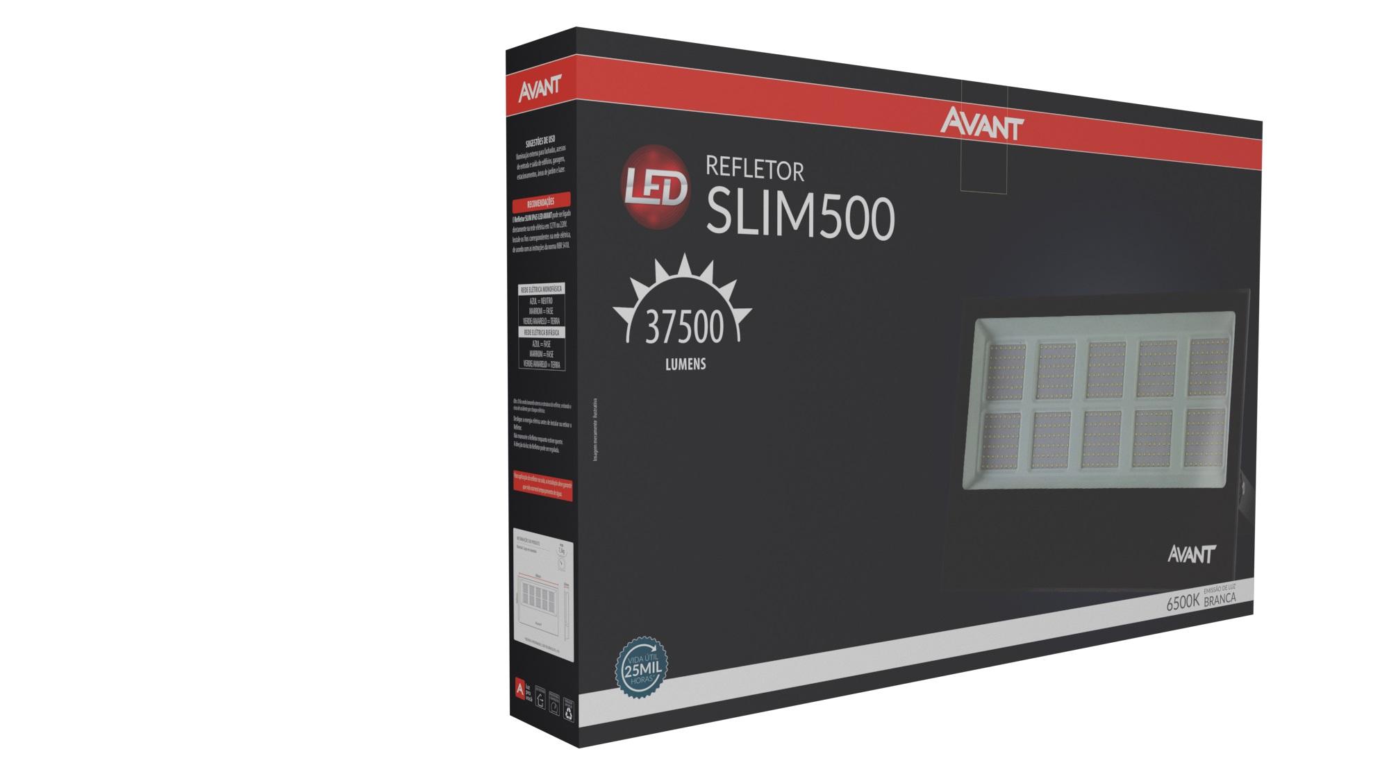 Refletor de Led 500w Preto Luz Fria Avant