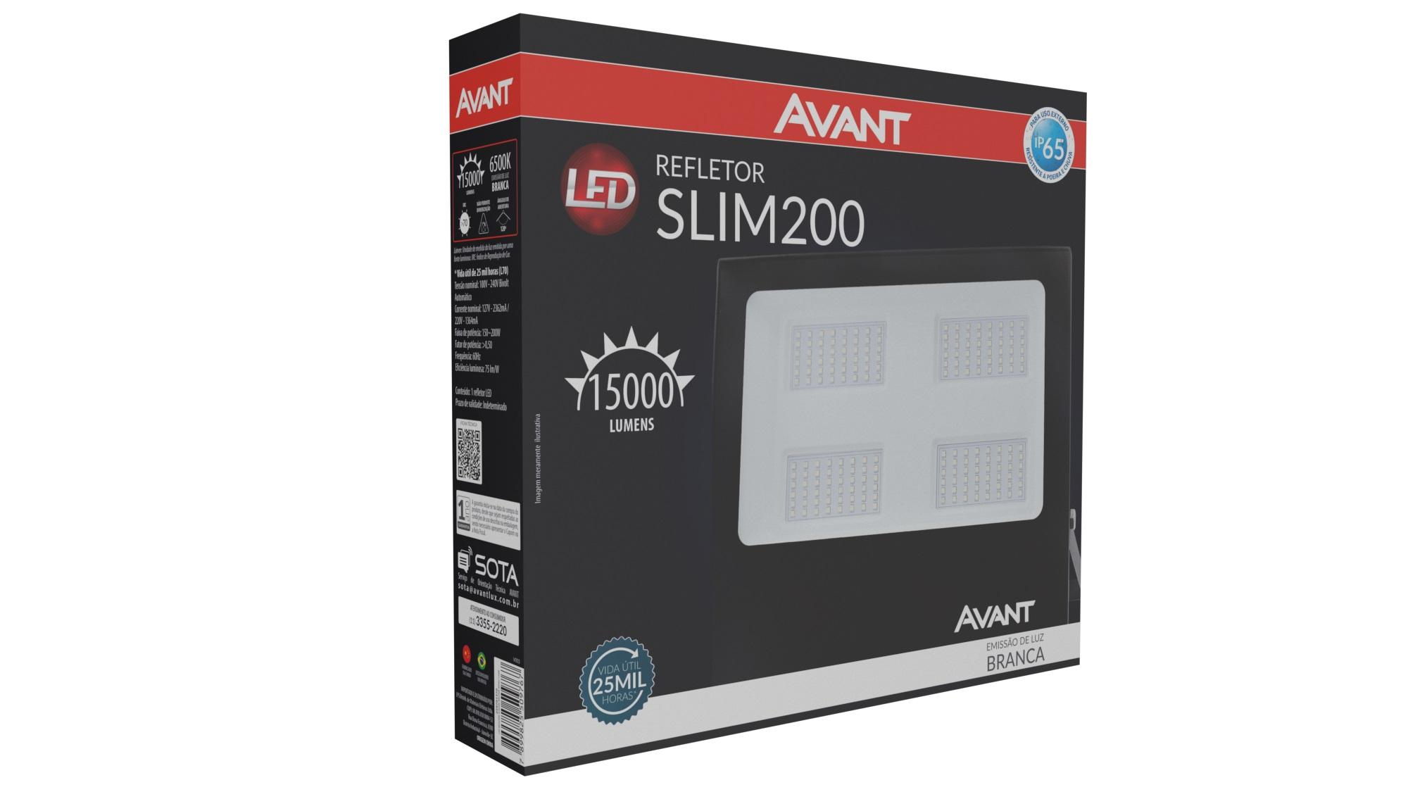 Refletor de Led 200w Preto Luz Fria Avant