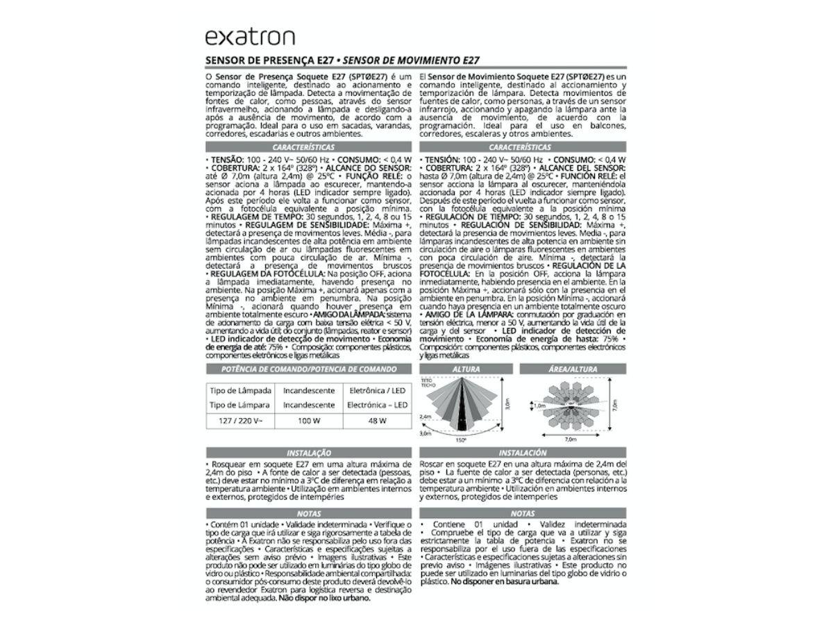 Sensor De Presença E27 Fotocélula Timer SPT0E27 Exatron Kit com 6