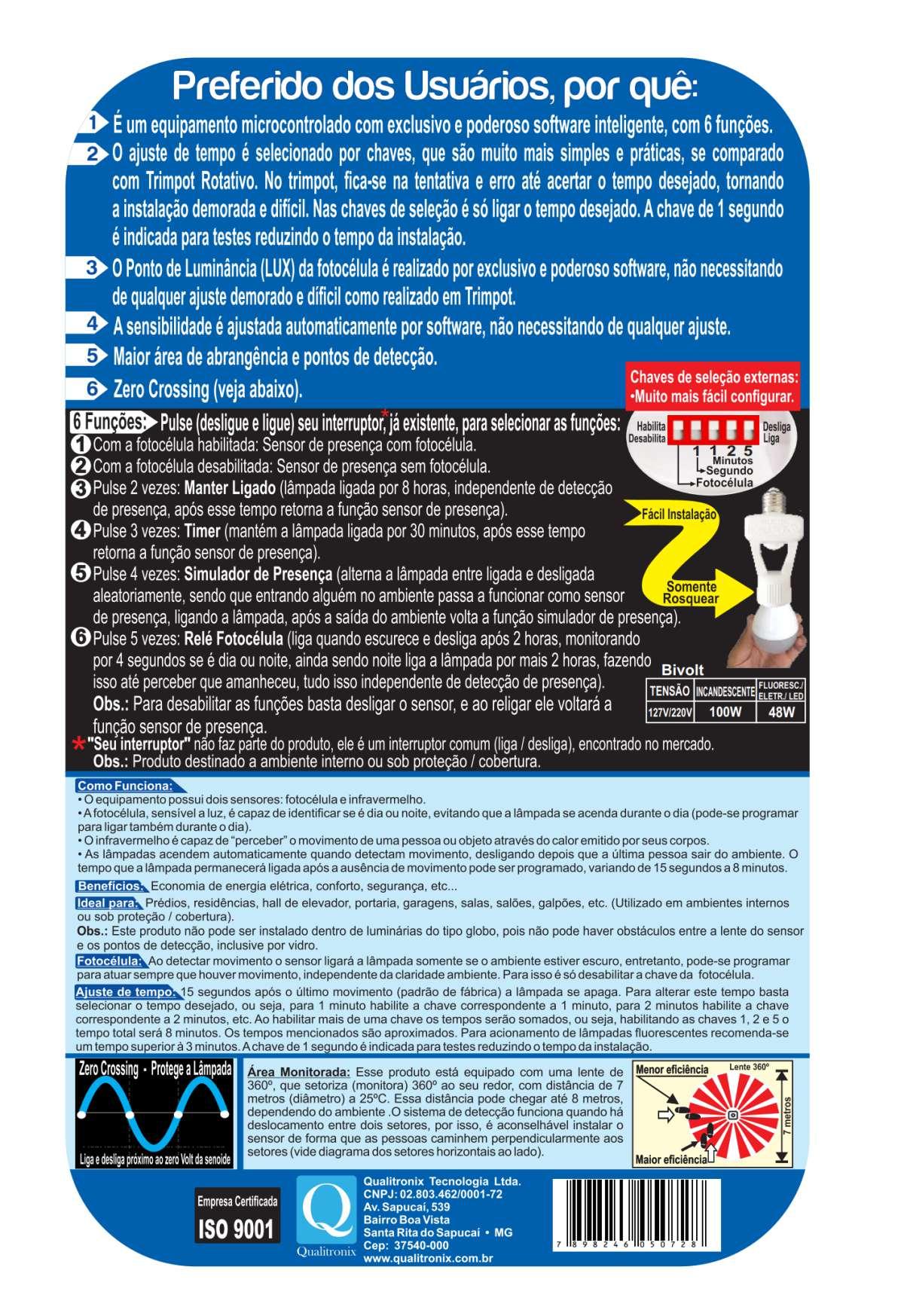 Sensor de Presença Inteligente E27 Bivolt Qa17M Qualitronix