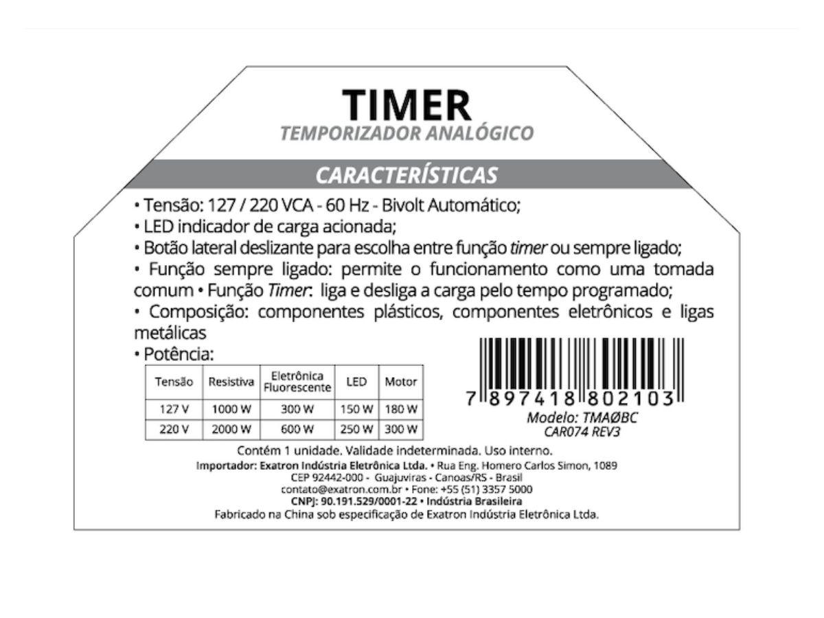 Time Analógico Automático Tmaobc Exatron