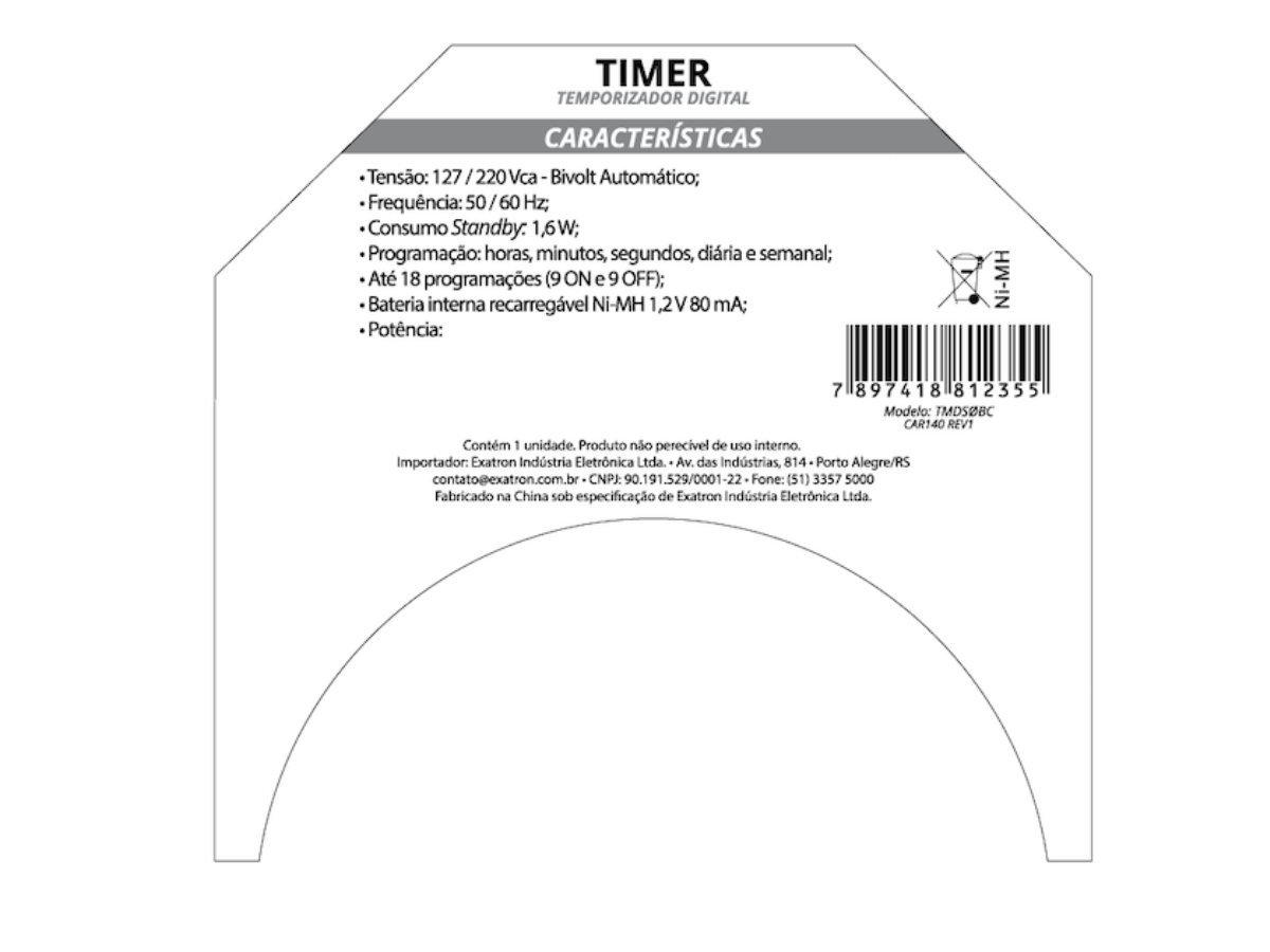 Timer Temporizador Digital Bivolt TMDSOBC Exatron