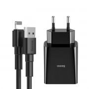 Carregador de Parede Duplo USB Baseus Speed Mini 10.5W (com cabo Lightining 2.4A 1m)