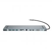 HUB Baseus Type-C p/ PD+VGA+HD4K*2+RJ45+USB*3+SD+USB-C 60W