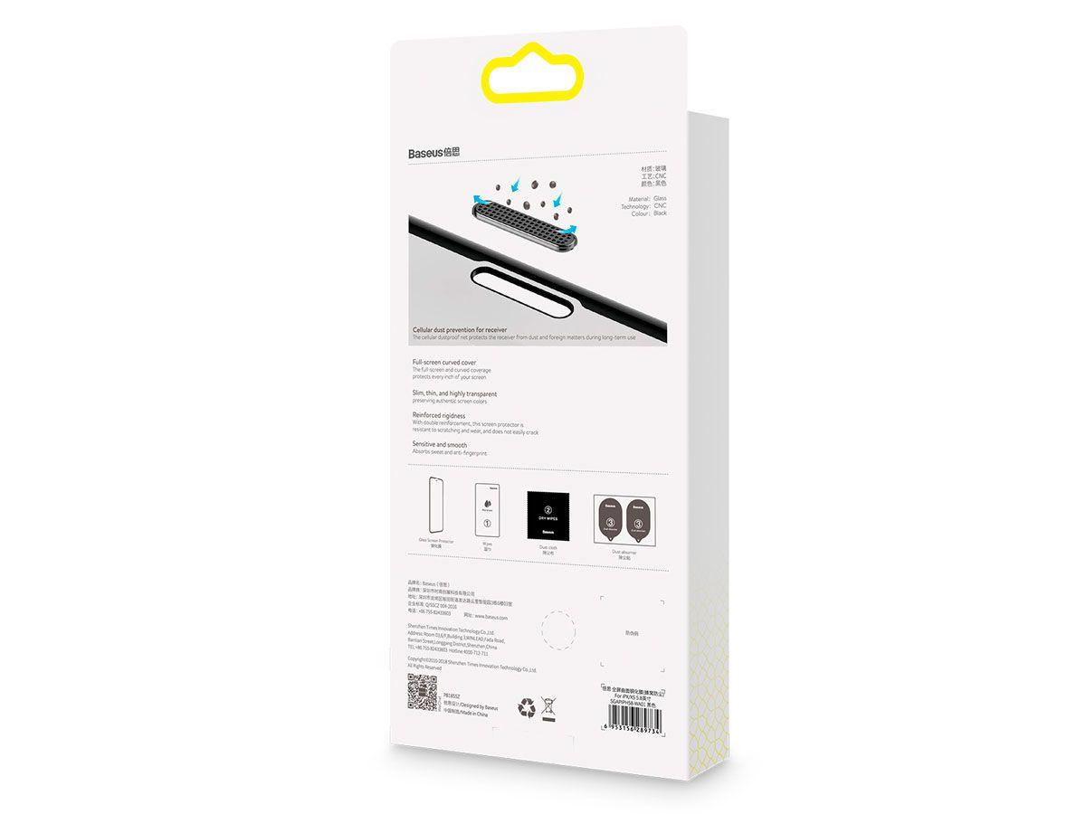 2 Películas Protetoras Curvas Baseus em Vidro Temperado para iPhone X, XS e 11 Pro