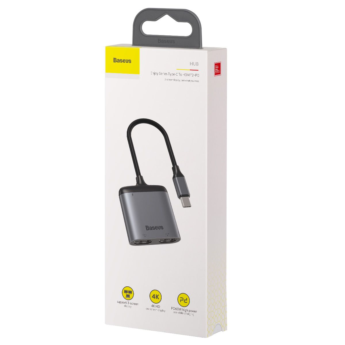 Adaptador Baseus Enjoy para 2 HDMI 4K + USB-C