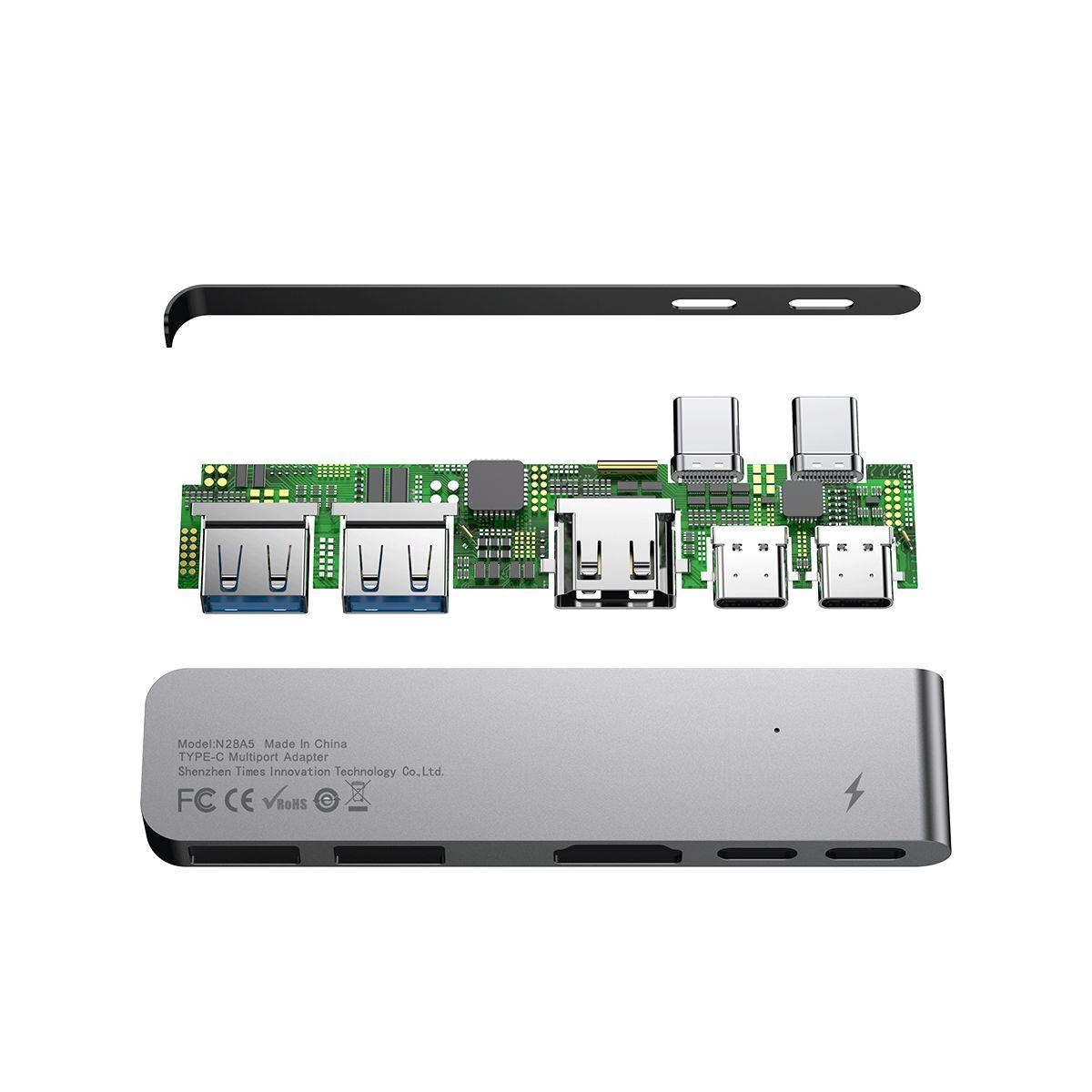 HUB 5n1 Baseus para Macbook Pro 2016/2018 e PC 2 Type-C + HDMI 4K + 2 USB 3.0