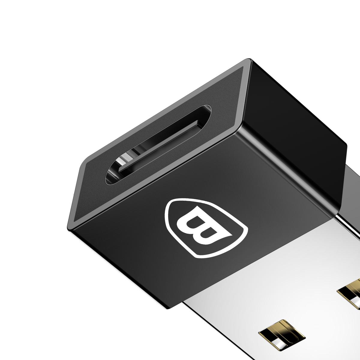 Adaptador Conversor Baseus USB Macho para Tipo-C Fêmea