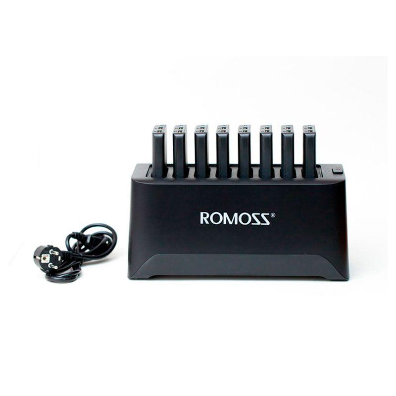 Base de Carregamento Romoss com 8 Carregadores Portáteis de 10.000 mAh e USB Duplo