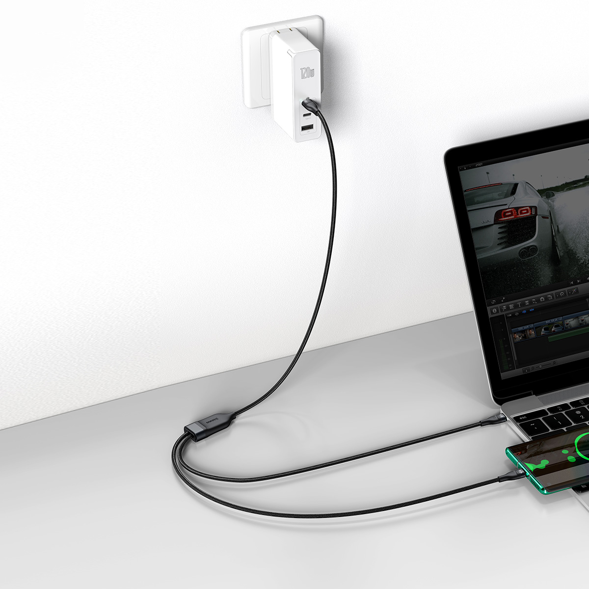Cabo 2in1 Baseus Flash Series Fast Charging Type-C para C+C 100w 1.5m