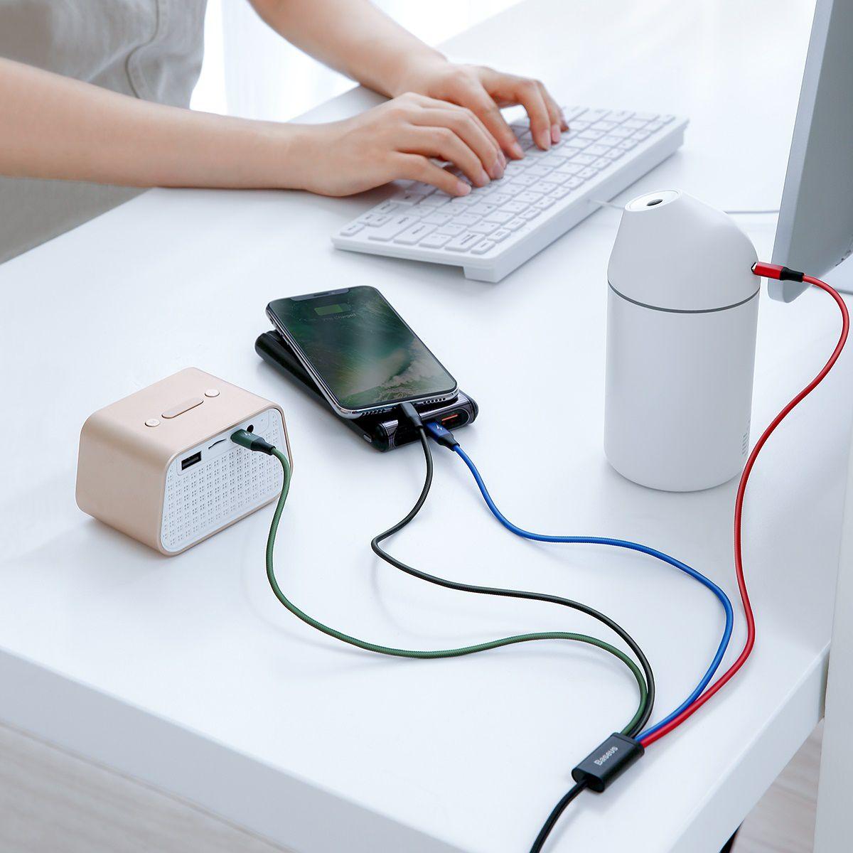 Cabo 4n1 Baseus Lightning + 2 Type-C + Micro USB 3.5A 1.2m