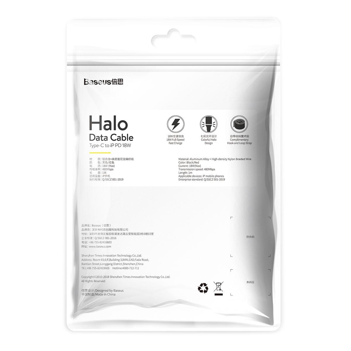 Cabo Baseus Halo usb Type C Pd 18W 1M com LED
