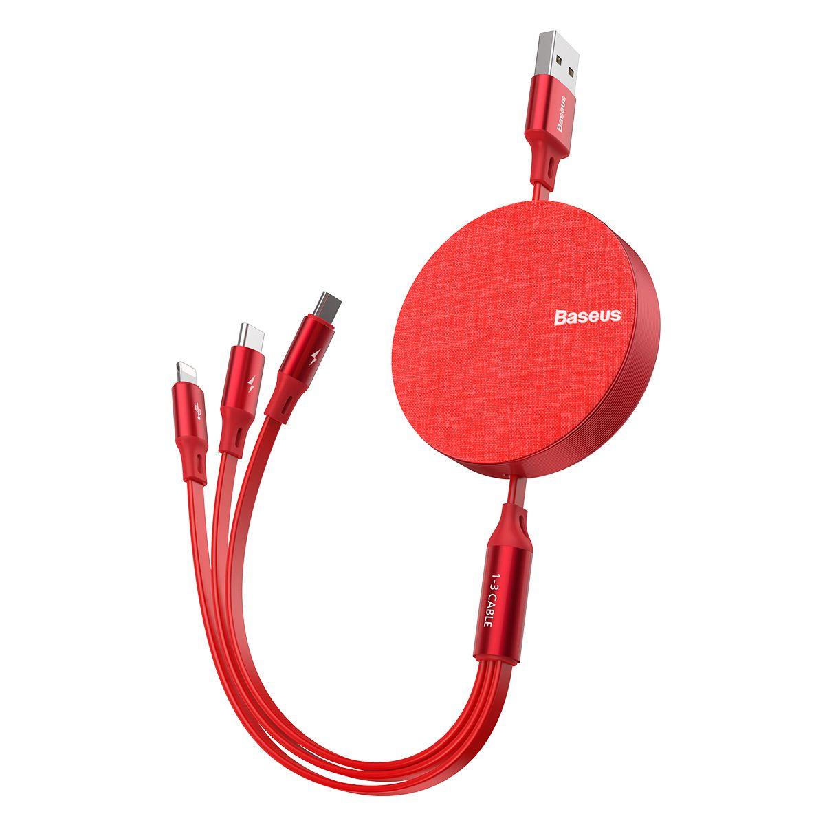 Cabo 3n1 Retrátil Baseus - USB para Micro USB / Lightning / Type-C com 3.5A 1.2m