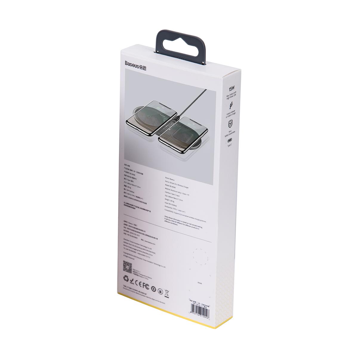 Carregador 2n1 Baseus Simple para Celular + Airpods