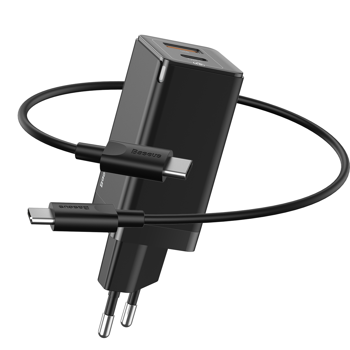 Carregador de Parede Baseus GaN Mini Quick Charger C+U 45w (Com cabo type-c para type-c 60w)