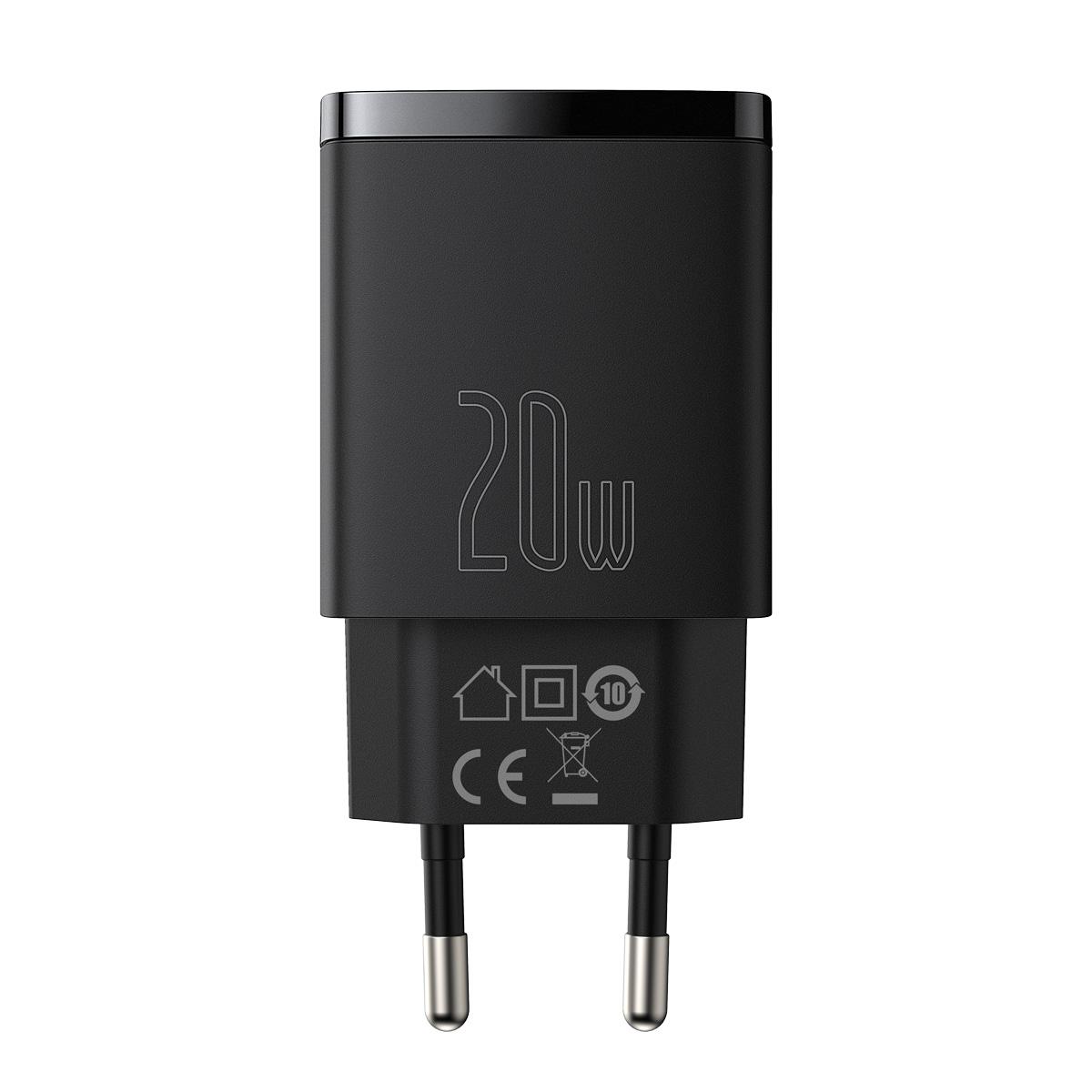 Carregador de Parede Baseus USB + TYPE-C Compact QC 3.0 PD 20W