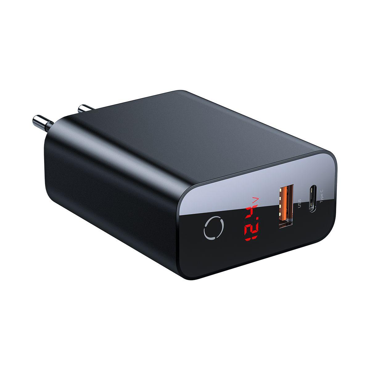 Carregador de Parede Inteligente com Digital Display Type-C + USB Baseus Speed PPS 45W