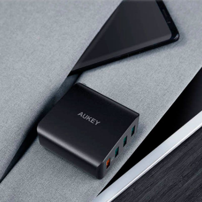 Carregador de Parede Rápido Aukey QC3.0 com 4 USB