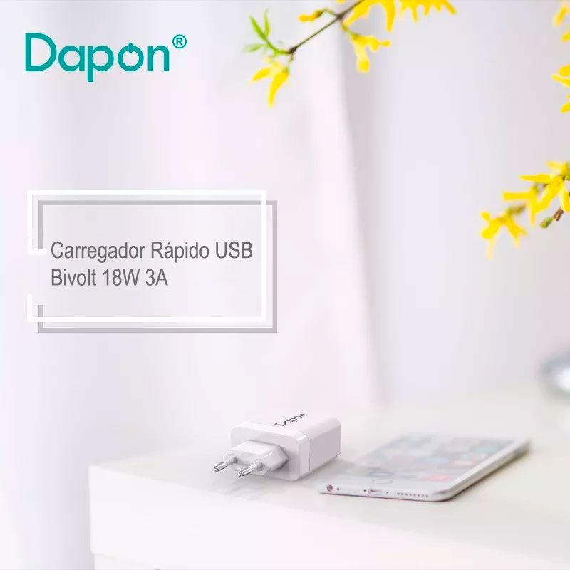 Carregador Rápido de Parede USB Bivolt 18W e 3A Dapon