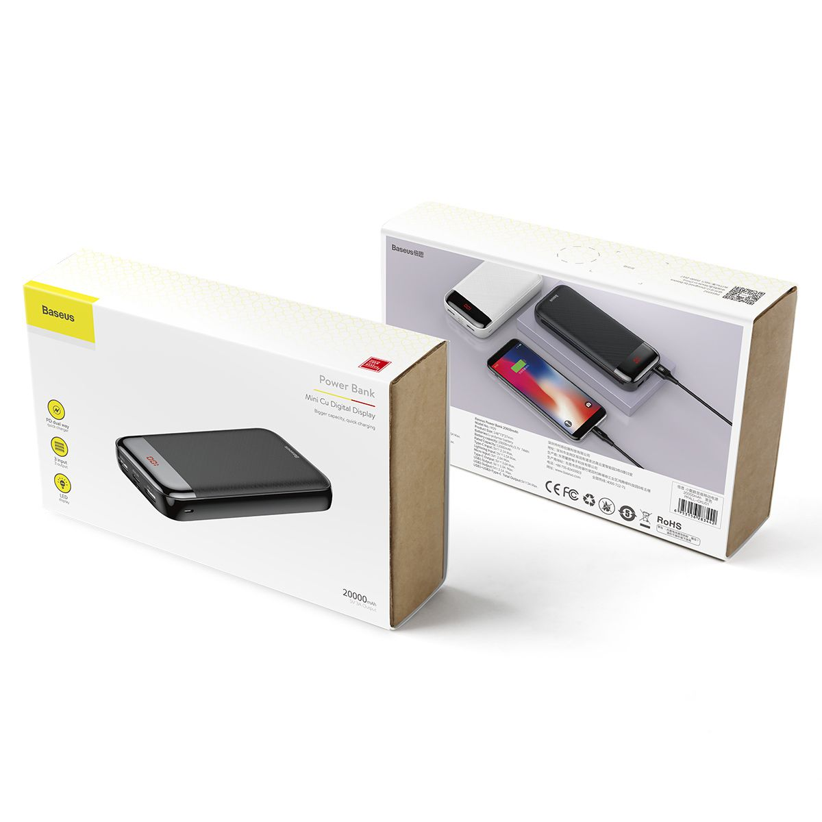 Carregador Portátil Baseus com Display 2 USB + USB-C + Lightning 20000mAh