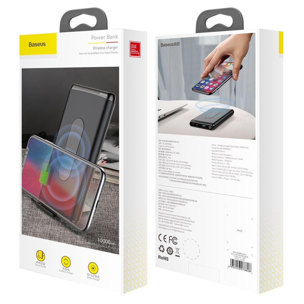 Carregador Portátil para Smartphones, PC e Mac com entrada USB-C e Carregamento Sem Fio Baseus 10000mAh