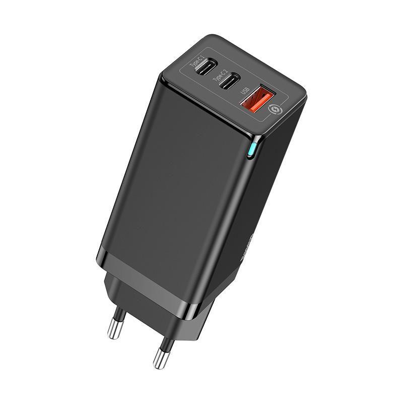 Carregador Rápido de Parede Baseus GaN 2*Type-C + USB 65W