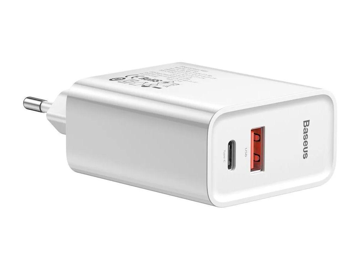 Carregador Rápido de Parede Baseus Speed Type-C + USB 30W 1m