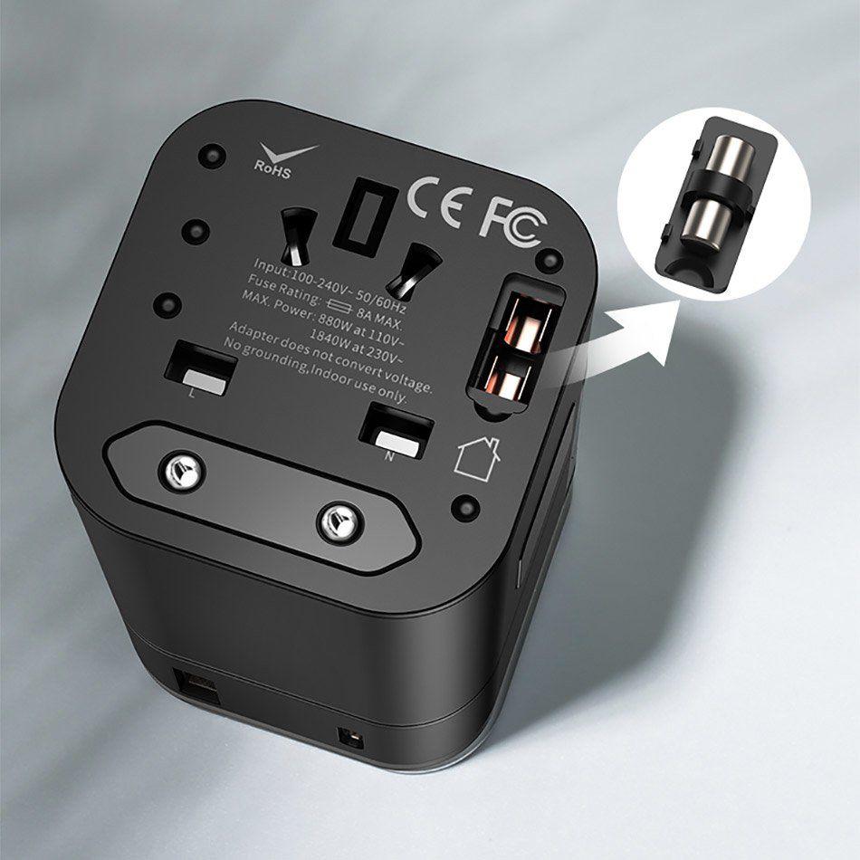 Carregador Rápido e Adaptador de Tomada Universal Baseus 2n1 Type-C+USB 18W