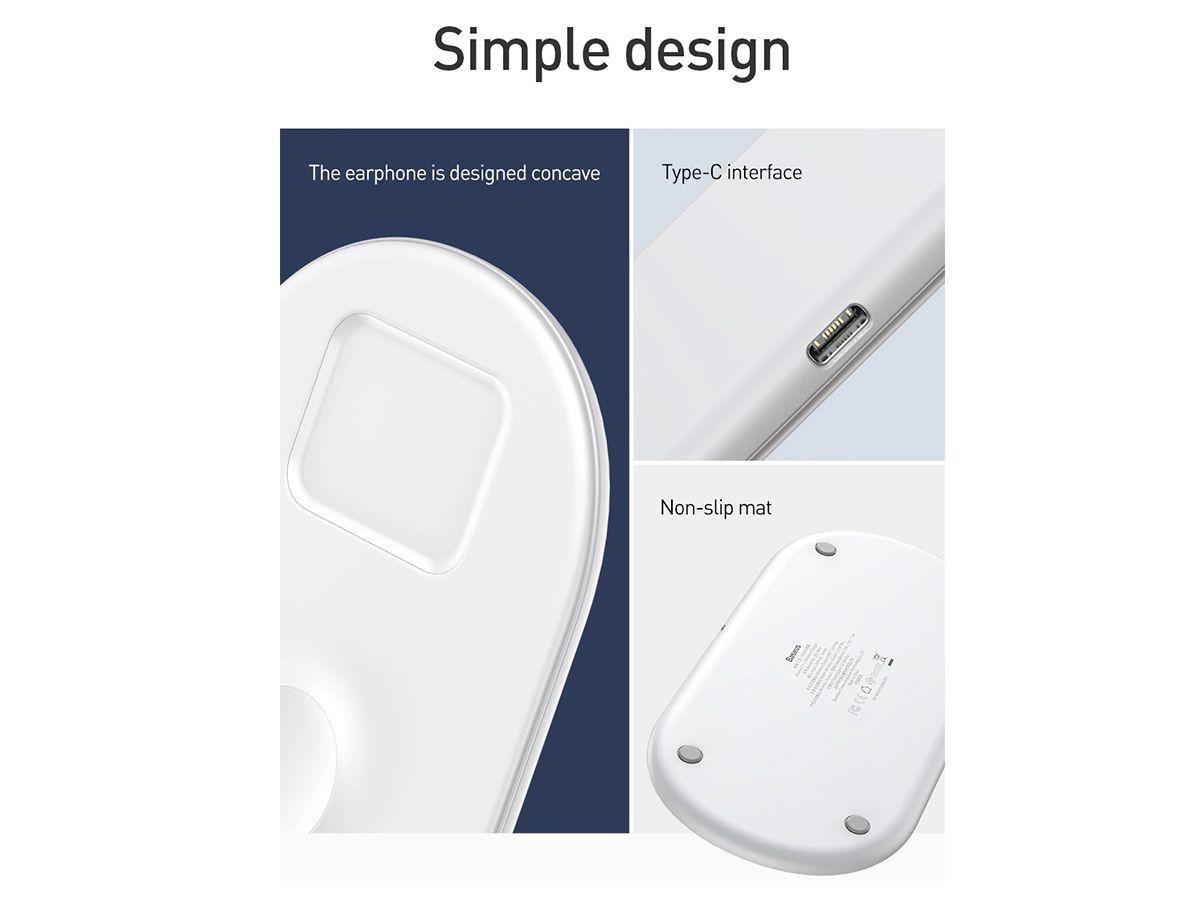 Carregador Sem Fio 3n1 Baseus para Apple Watch, Airpods e Smartphones