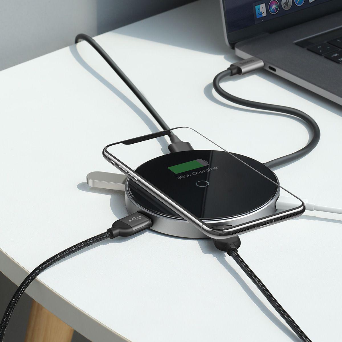 Hub Carregador Sem Fio Baseus Type-C (PD) + HDMI 4K + USB 3.0 / USB 2.0 + Type-C (PD)