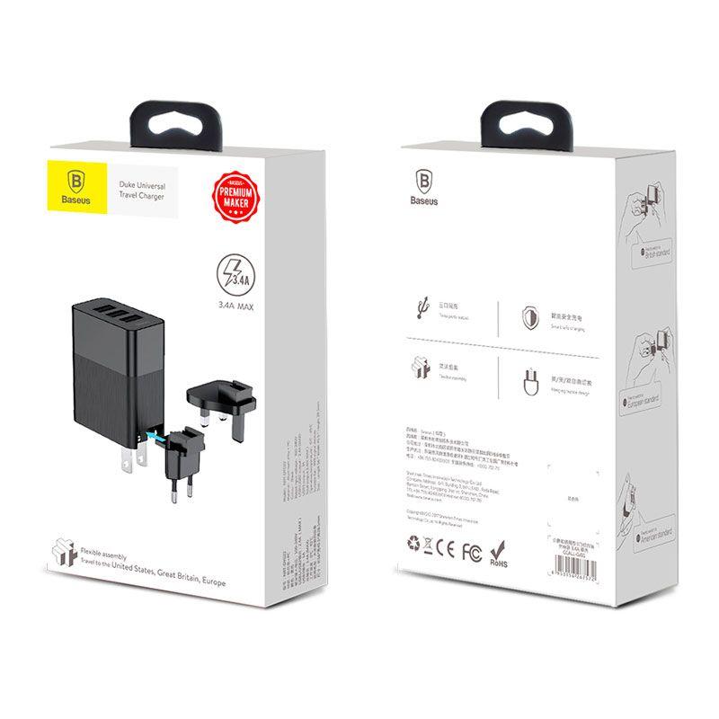 Carregador Universal de Viagem Baseus Duke 3x USB e 3.4A