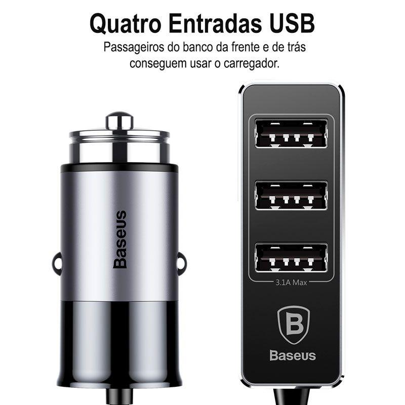 Carregador Veicular Baseus Enjoy Together 4 x USB e 5.5A