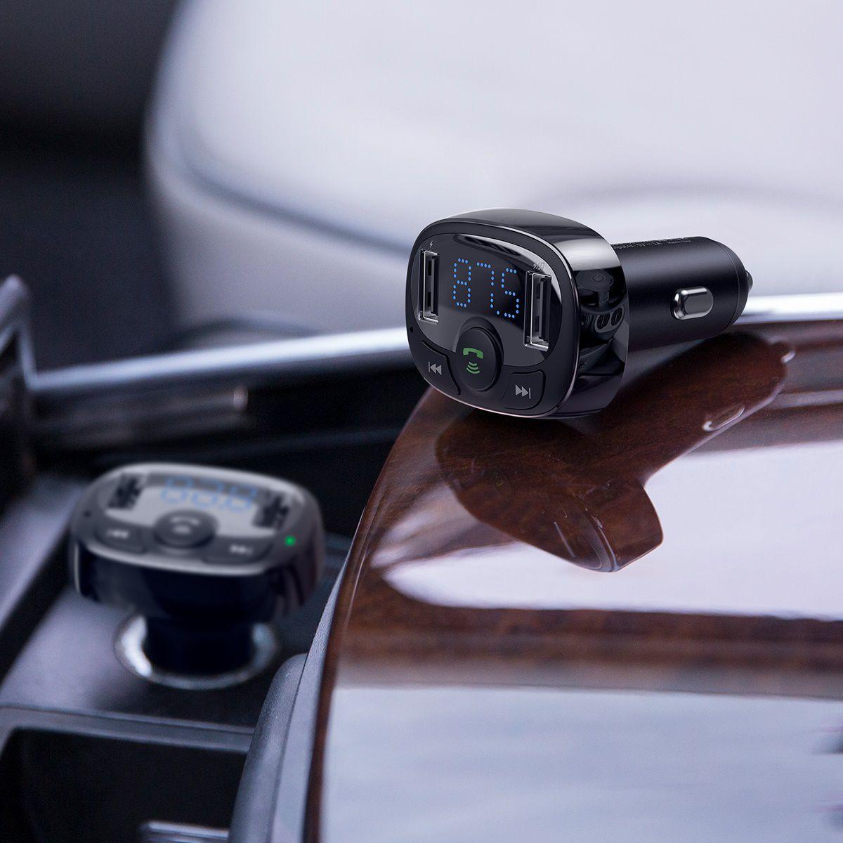 Carregador veicular Tipo T Baseus 2 USB com Transmissor FM, Bluetooth e MP3 (Versão Standard)