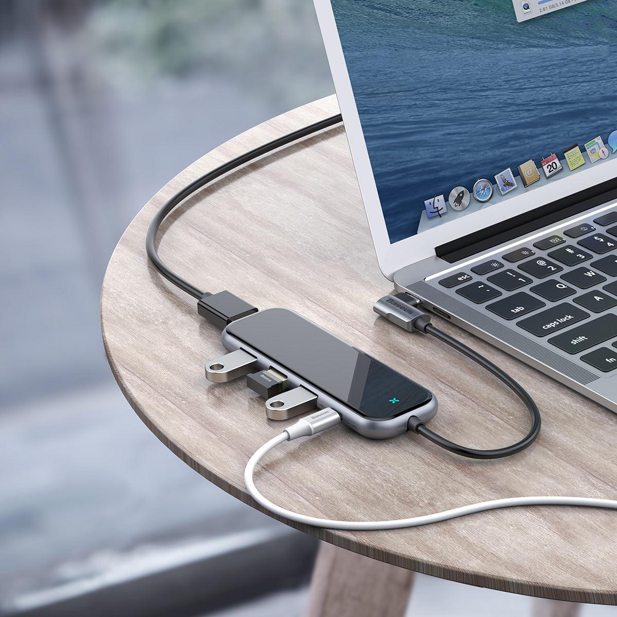 Hub Baseus Multi-Funcional (Type-C to 3x USB 3.0 + 4K/HD+PD) Adapter for Macbook/PC