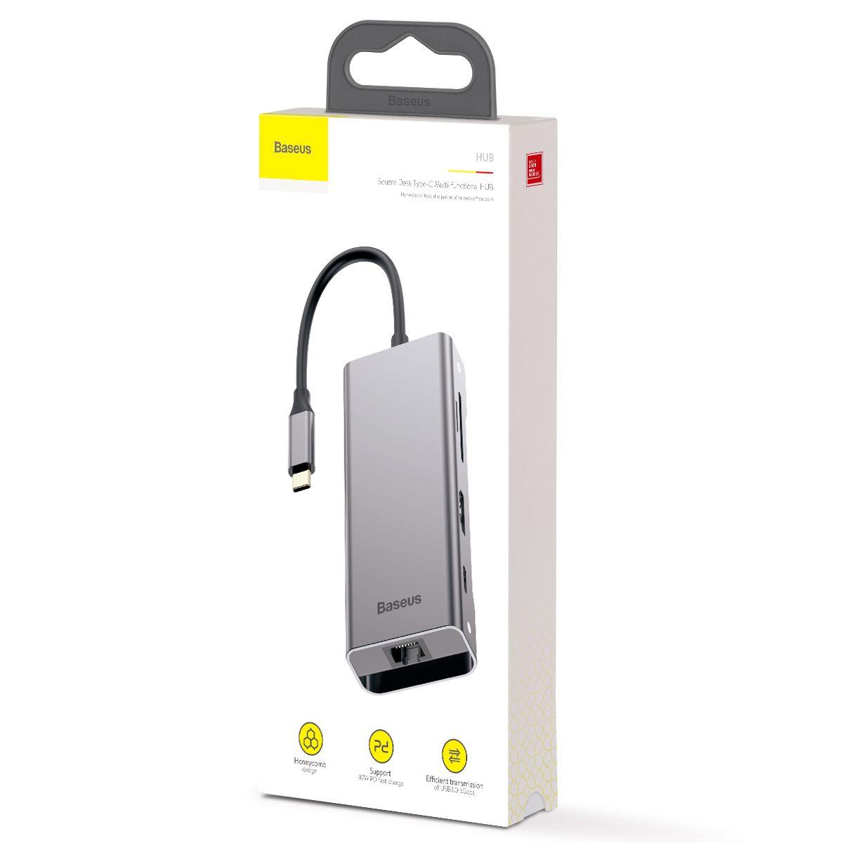 HUB Baseus Square Desk 7n1 Type-C para LAN + 2 USB + SD + MicroSD + Type-C + HDMI 4K