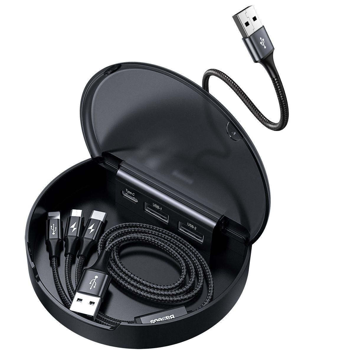 HUB Carregador Veicular Baseus (Type-C + 2*USB + Cabo 3n1 Micro USB/ Lightning /Type-C)