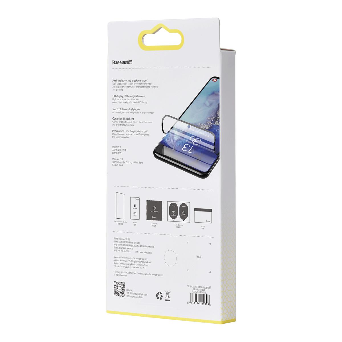 Película Baseus Tela-Cheia Curva 0.15mm Anti-Explosão Samsung S20 Ultra