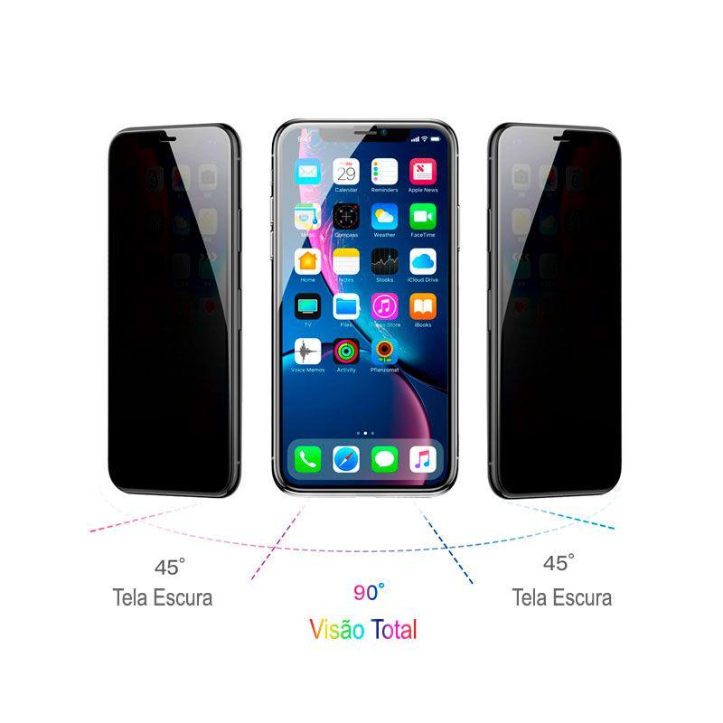 Película Protetora Curva com Função Privacidade em Vidro Temperado de 0.23mm para iPhone XS Max