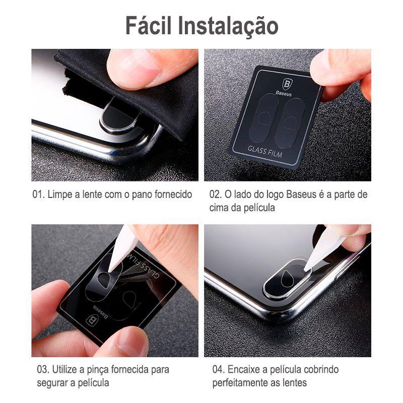 Película Protetora de Vidro Baseus com 0.15mm para Câmera do iPhone X