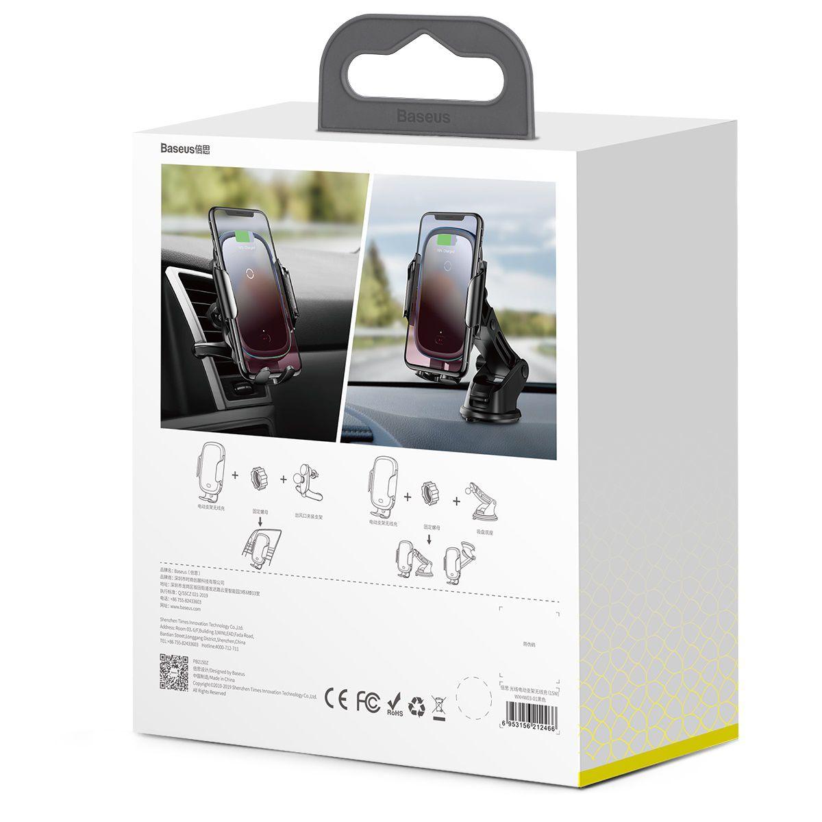 Suporte Veicular com Carregamento Sem Fio Baseus Light 15W