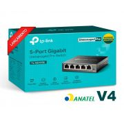 Switch Mesa 5 Portas Gigabit 10/100/1000mbps Tp-link Tl-sg105e V4