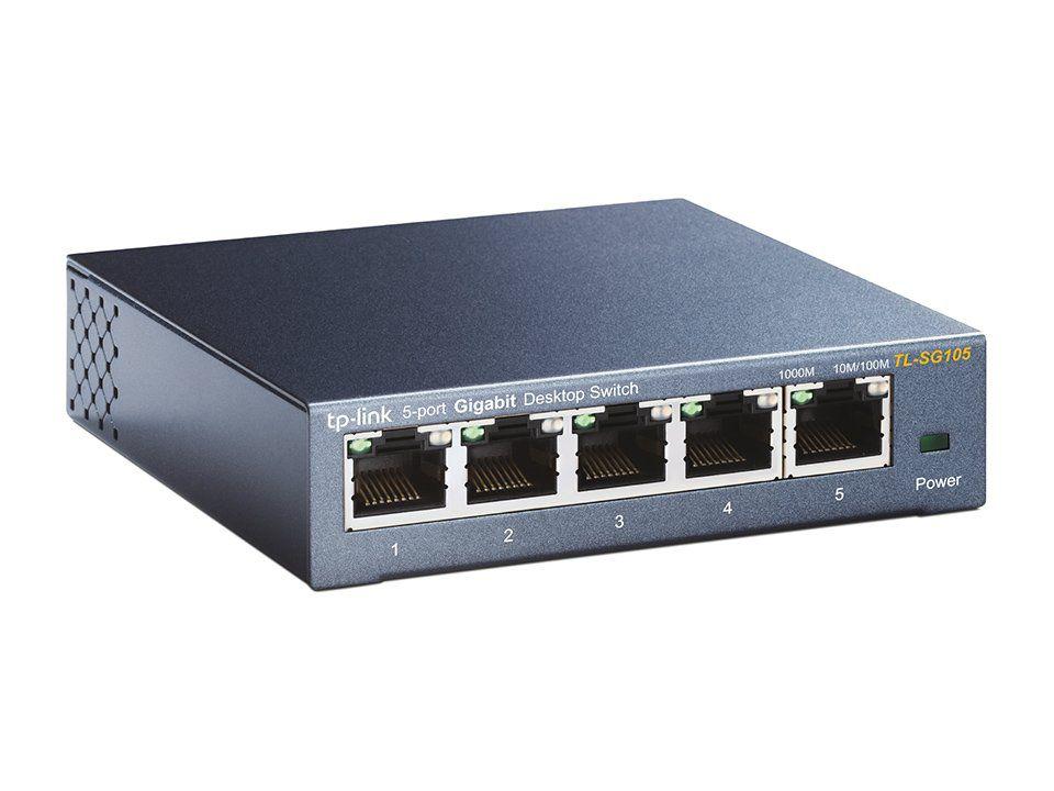 Switch Mesa 5 Portas Giga 10/100/1000mbps Tp-link Tl-sg105 V3
