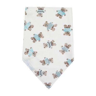 Babador bebê bandana ursinho - Branco e azul bebê