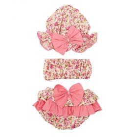 Banho de sol bebê estampa flores 3 peças - Rosa spring