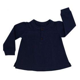 Batinha bebê manga longa com botões de coração - Azul marinho