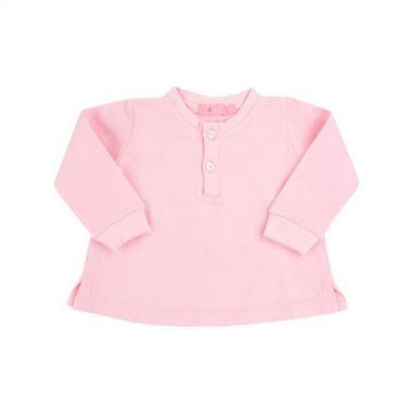 Batinha bebê manga longa com botões de coração - Rosa bebê