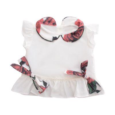 Batinha bebê - Off white e floral