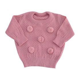 Blusa bebê em tricot pom pom - Rosa cravo